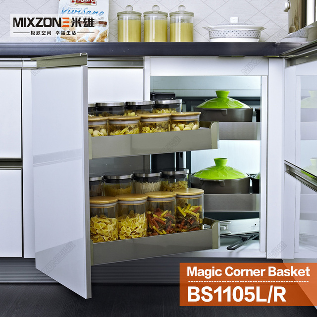 Eco Friendly Stainless Steel Kitchen Cabinet Magic Corner Sliding Basket Pantry Dish Storage Pull Out Drawer Mixzone Bs1105l