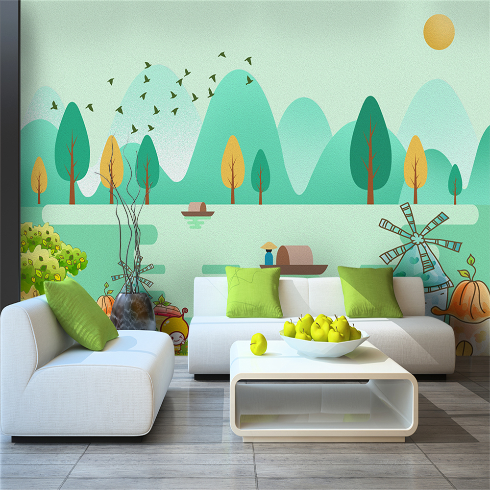 Custom 3d Wallpaper Modern Cartoon Forest Bird Creek Castle Fisherman TV Background Wall - Silk Waterproof Material