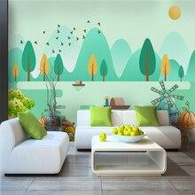 Custom 3d wallpaper modern cartoon forest bird creek castle fisherman TV background wall - silk waterproof material