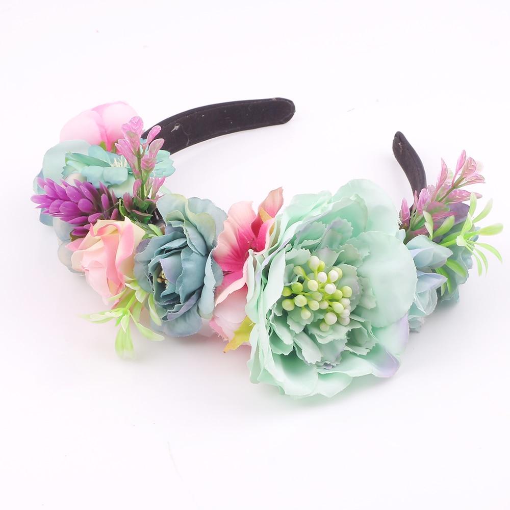 Wedding Bridal Hair Accessories Flower Headband For Women Bridesmaid Artificial Rose Carnation Peony Flower Crown