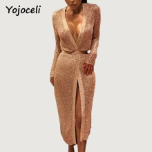 Yojoceli sexy rose gold shine knitted cardigan dress women party club midi bow dress deep v neck 2018 bodcyon knitted dress