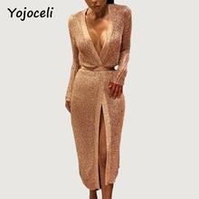 Yojoceli пикантные цвета розового золота блеск вязаный кардиган платье женские вечерние Клубные миди платье с бантом с глубоким v-образным вырезом 2018 bodcyon трикотажное платье