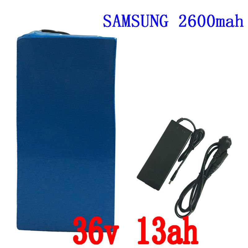 36V 13AH 500W  use for samsung 2600mah  cell electric Bike Battery Lithium Battery Pack with 2A Charger 15A BMS  Free Shipping free customs taxes super power 1000w 48v li ion battery pack with 30a bms 48v 15ah lithium battery pack for panasonic cell