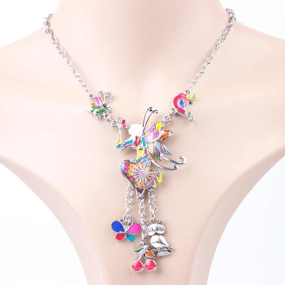 Bonsny הצהרת שרשרת קוף אמייל פרח סגסוגת ארוך שרשרת תליונים 2016 תכשיטים חדשים לנשים קסם Collares אבזרים