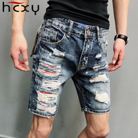 HCXY 2018 New Fashion Mens Ripped Short Jeans Brand Clothing Bermuda Summer 98% Cotton Shorts Breathable Denim Shorts Male