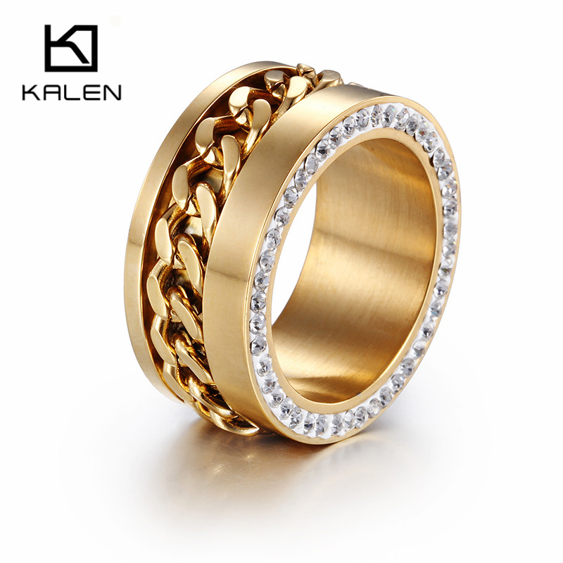 KALEN Stainless Steel Fashionable Jewelry Unique Design Women Wedding Band Rings New Rhinestone Gold Color Engagement Rings
