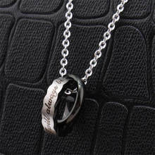 Romantic Couple Necklaces Pendants Men Women Double Circle Cross Stainless Steel Pendant Necklaces Lovers' Gifts