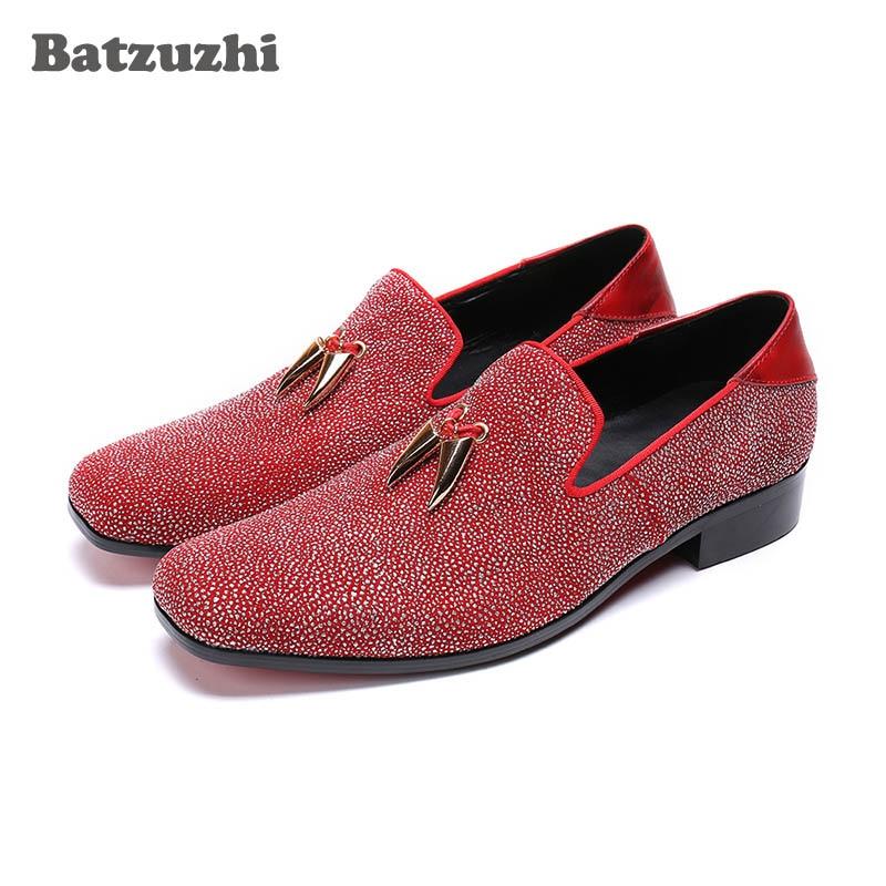 Batzuzhi Luxury Men Shoes Italian Model Casual Leather Shoes Men Loafers Flats Red Crystals Wedding Shoes Man zapatos de hombre цена
