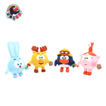 High quality 4Pcs lot Kikoriki Smeshariki Pincode Stuffed stuffed Plush Figure Dolls Toys with keyring