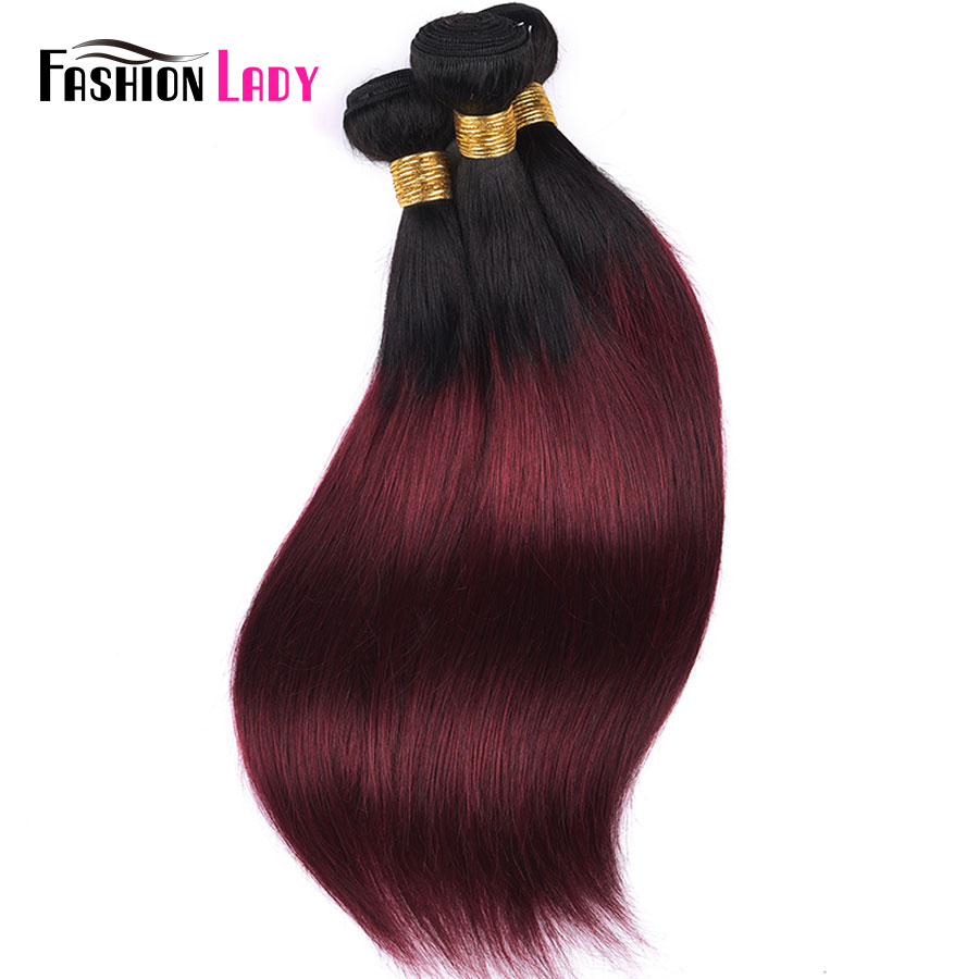 HTB1rG5Ma42rK1RkSnhJq6ykdpXag Fashion Lady Pre-Colored Ombre Brazilian Hair 3 Bundles With Lace Closure 1B/ 99J Straight Weave Human Hair Bundle Pack Non-Remy