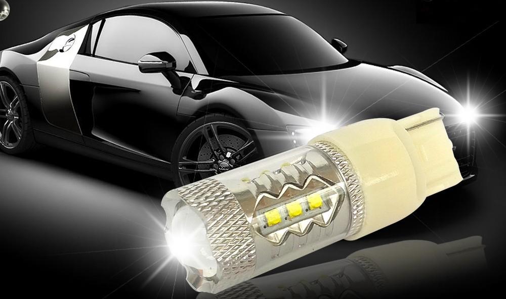 2X 7440 7443 W21 5W T20 CREE XB-D 16 SMD 80W Wedge Car Brake Stop Reverse Turn Signal LED Bulb 12V Xenon White (1)