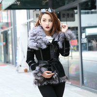 Восточный мех 2017 Зима Леди свинья кожа пальто куртки с большим лисьим меховым воротником Верхняя одежда пальто теплые пальто женская мехов