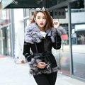 eastern fur 2017 Winter Lady pig Leather Coat Jackets with big Fox Fur collar Outerwear Coats Warm Overcoats Female Fur jacket