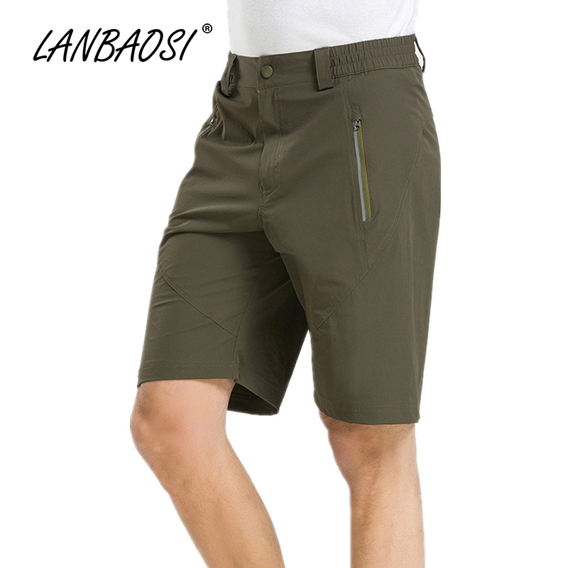 LANBAOSI Outdoor Sports Summer Mens Hiking Shorts Quick Dry Breathable Reflective Stripe Elastic Waist Traveling Cargo Short