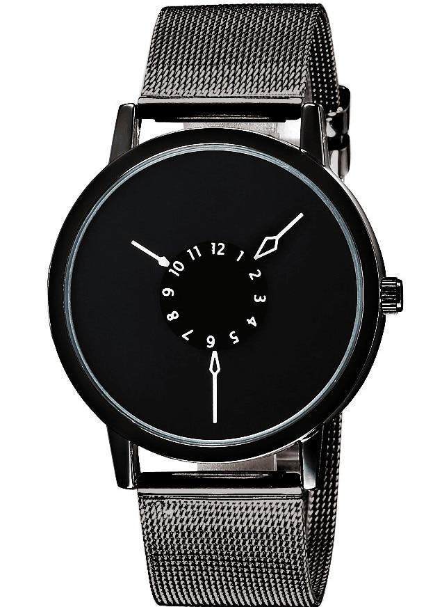 Fashion Black Dial Simple Design Metal Net Mesh Steel Band Quartz Wrist Watch Women Lady Men Unisex Best Gift Q0942 xyx q simple