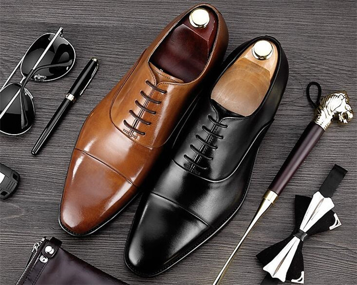 Fashion men's business dress spring England genuine leather handmade square toe lace-up black leather shoes