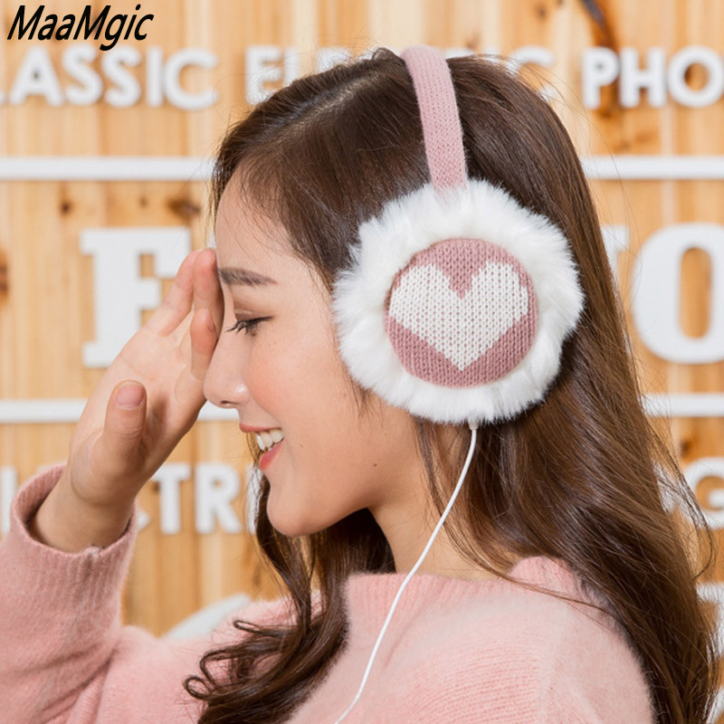 New Plush Female Winter Earmuff Warm Ear Muffs Headphones Girls Earmuffs Music Earphone Ear Warmers Protector Fur Headphones