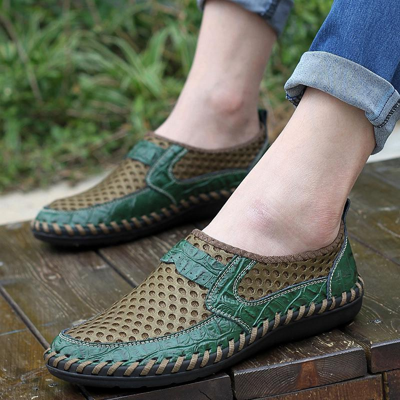 Summer Shoes Men Slip-On Mesh Sneakers Mens Shoes Outdoor Breathable Male Shoes Loafers Casual Footwear Plus Size 11 12 13 Green