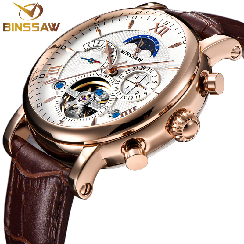 BINSSAW Watch Men Automatic Mechanical Tourbillon Luxury Business Leather Stainless Steel Sport Mens Watches Relogio Masculino