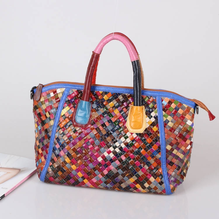 Free shipping Sheepskin handmade woven bag handbag cross-body multicolour women's genuine leather handbag free shipping sheepskin rivet women s genuine leather big bag handbag cross body women s handbag