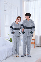2017 Flannel Soft Lover S Pajama Sets Super Thick Couple Sleep Lounge Warm Nightgowns Homewear Clothes