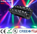 2pcs/lot new moving head light led spider 8x10w rgbw 4in1 beam light