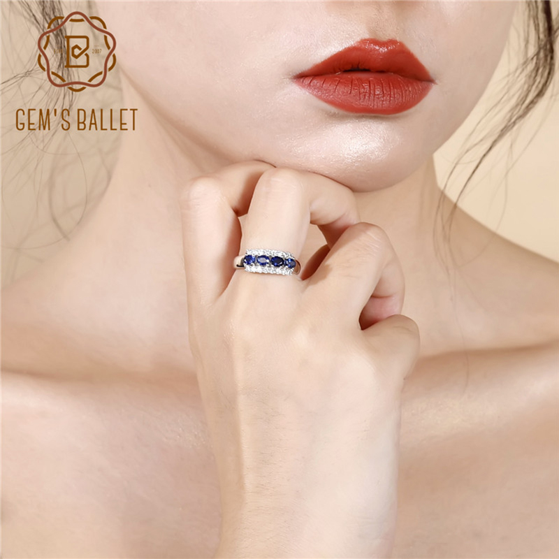 GEM'S BALLET 0.92Ct Natural Vintage Blue Sapphire Ring 925 Sterling Silver Wedding Rings For Women Valentine's Day Jewelry