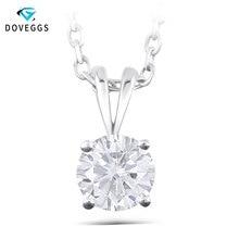 DovEggs Delicate Solid 14K White Gold 8mm FG Color Moissanite Diamond Pendant For Women Hearts Arrows Cut Moissanite Pendant цена 2017