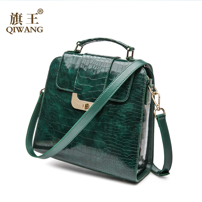 QIWANG Real Genuine Patent Leather Women Handbag Authentic High Quality Leather Shoulder Bags Elegant Ladies Green Bag qiwang real genuine green leather women handbag suede green fashion tote bags elegant ladies luxury bag for women large