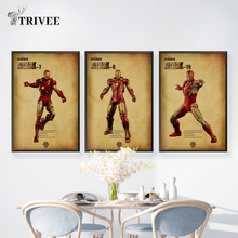 The Avengers Iron Man Print Canvas Mark 1 3 Movie Posters Superhero Spider For Gift Kids Room Decoration Wall Decor