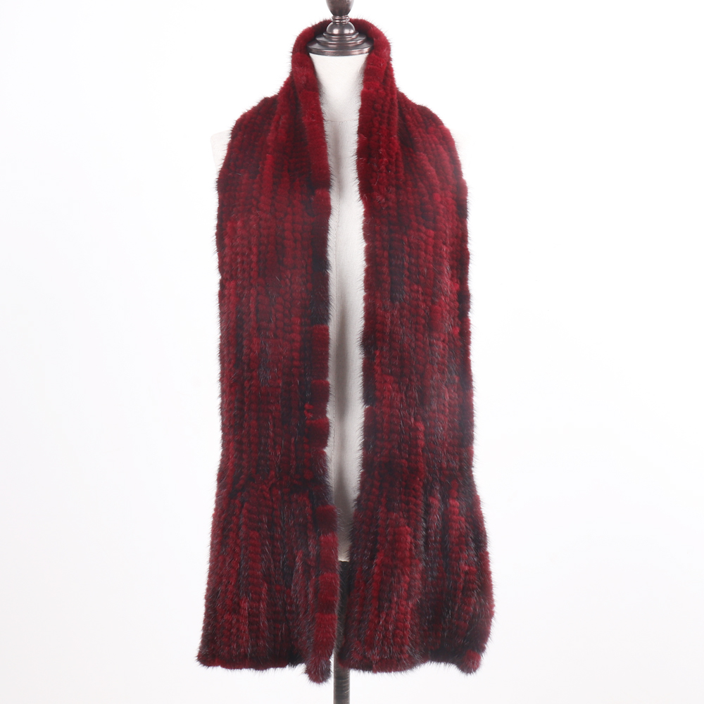 Image 2 - 2019 New Arrive Winter Autumn Lady Fashion Mink Fur Scarf Knitted Real Mink Scarves 170X15CM Warm Elegant Women Fur Muffle-in Women's Scarves from Apparel Accessories on AliExpress