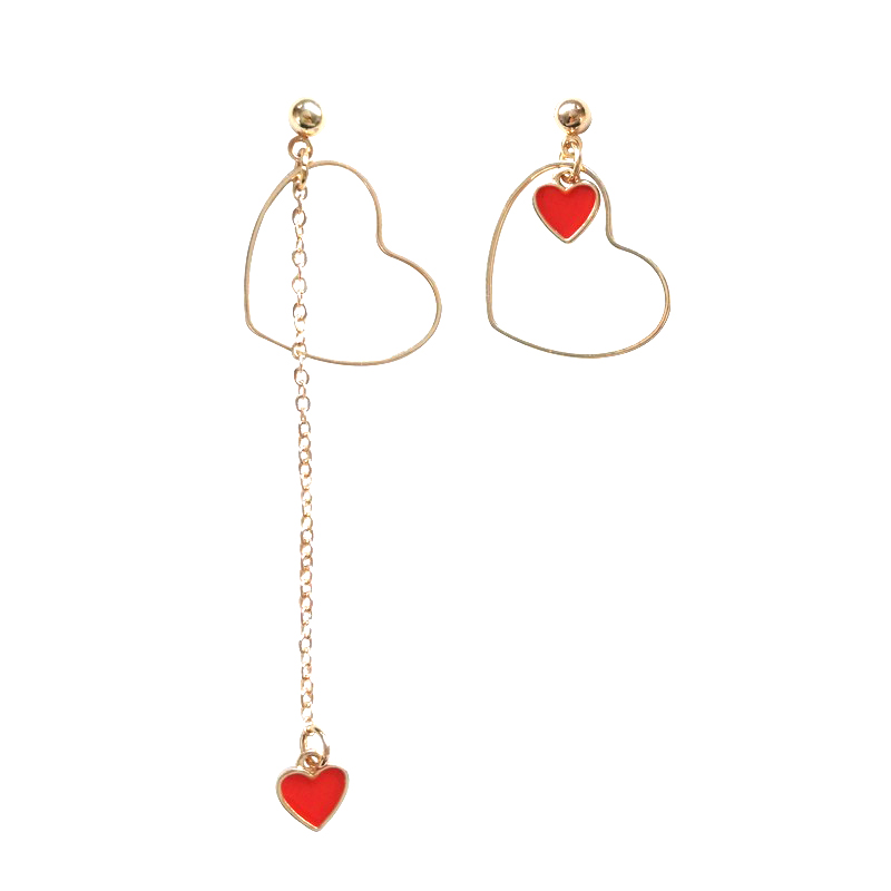 Girls love asymmetric personality fashion joker Heart-shaped earrings stud earrings