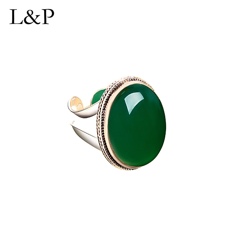 L&P Vintage Real Silver Oval Chalcedony Rings For Women Elegant Antique Natural Stone Ring Fine Jewelry Girls Ladies Gift
