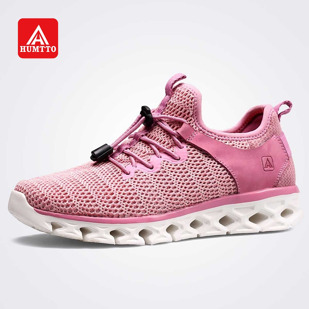 HUMTTO Women Walking Shoes Men Breathable Lightweight Leather Mesh Sneakers Outdoor Traveling Jogging Leisure Shoes
