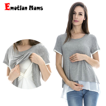 Emotion Moms Short sleeve Maternity T shirt Nursing Tops pregnancy Maternity clothes for pregnant women Breastfeeding