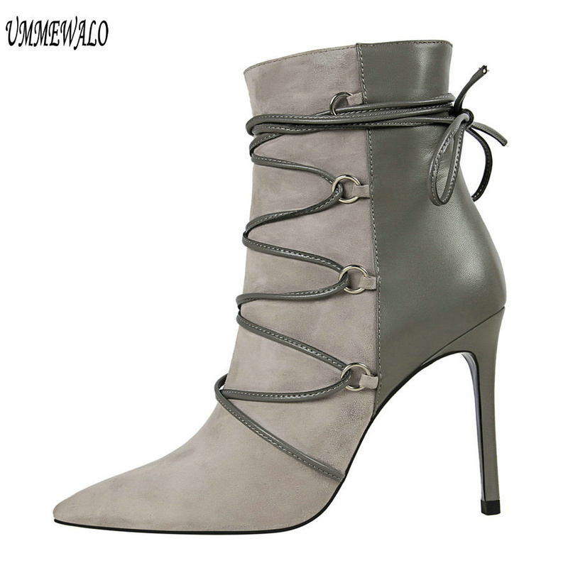 UMMEWALO Ankle Length Flock Boots Women Fashion Pointed Toe High Heel Shoes Winter Ankle Boots Ladies