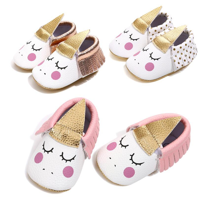 Baby Shoes Unicorn For Baby Girls Boys PU Leather Soft Bottom Baby Shoes Fringe Baby Moccasins Newborn First Walker Party Shoes