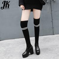 JK Winter High Heels Women Boots Round Toe Knitting Footwear Stretch Female Boots Platform Over The Knee Sock Shoes Woman 2018