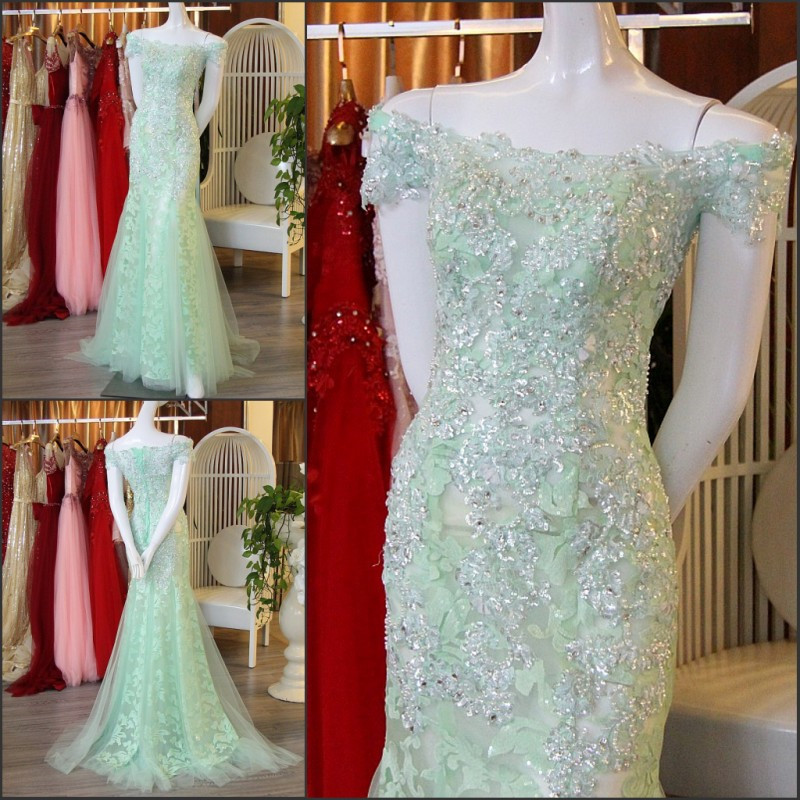 New Sexy Mermaid Cap Sleeve Lace-up Formal   Dresses   Heavy Lace Crystals Luxury Emerald Green   Evening     Dresses   Robe De Soiree IZ515