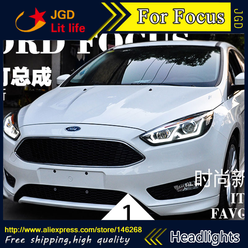 Free shipping ! Car styling LED HID Rio LED headlights Head Lamp case for Ford Focus 2015 Bi-Xenon Lens low beam