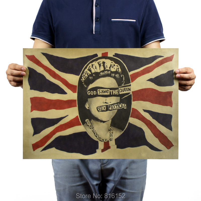 Sex Pistols Classic Punk Rock Song God Save The Queen Retro Kraft Paper Posters for Bar Cafe Home Wall Decoration 51x35.5cm image