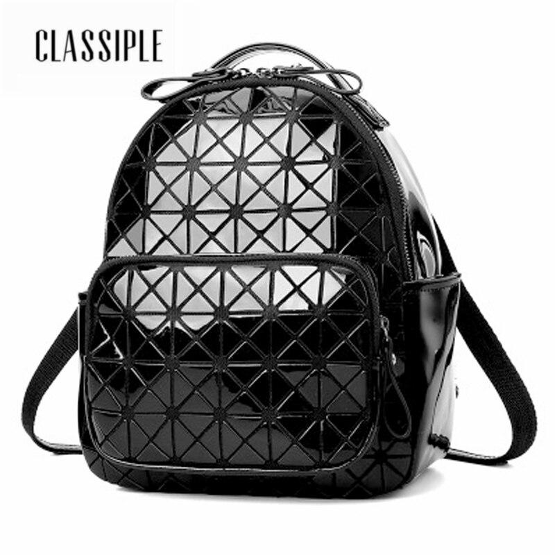 Women 2018 Cute Backpack For Teenagers High Quality PU Leather Lingge Black Backpack Females Designer School