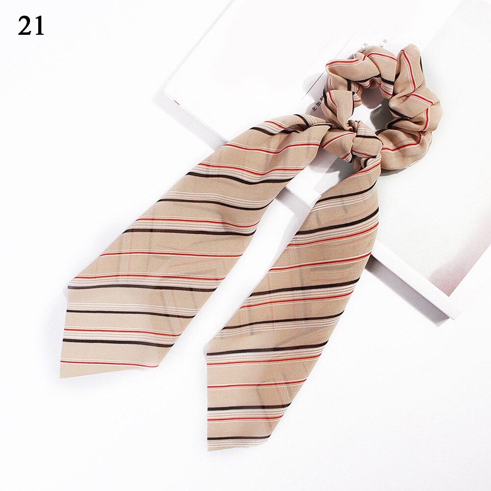 Модный летний шарф «конский хвост», эластичная лента для волос для женщин, бантики для волос, резинки для волос, резинки для волос с цветочным принтом, ленты для волос - Цвет: 21