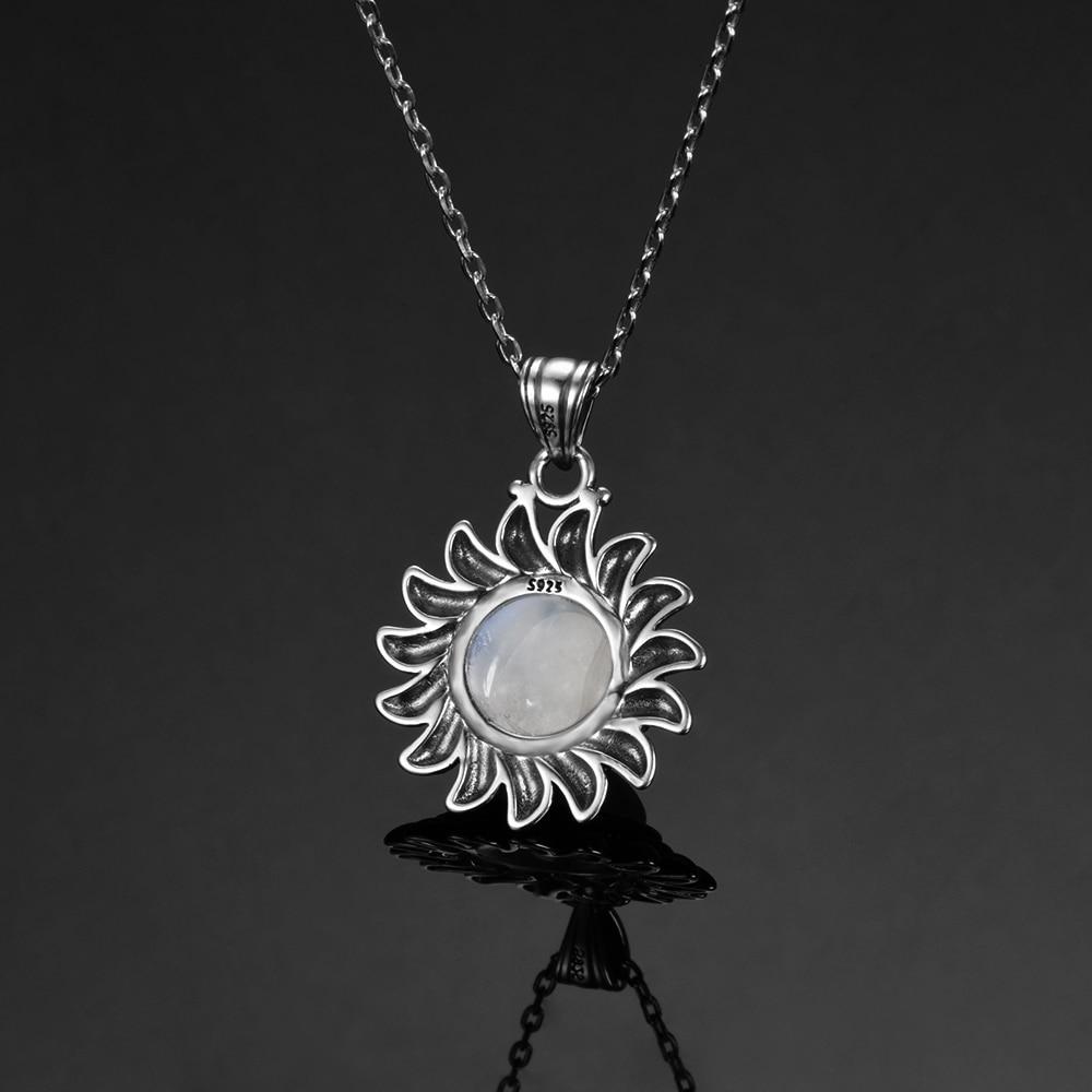 HTB1rG7KatfvK1RjSszhq6AcGFXaM Natural Moonstone 925 silver jewelry Pendants Necklaces For Women Men Sun Geometric Shape Vintage Fashion Woman Pendants Hotsale