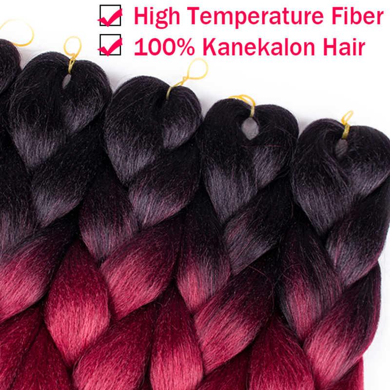Plecare Джамбо Вязание косичками косички цветной Канекалон синтетические плетеные волосы 24 ''100 г волокно бордовый черный розовый крючком волосы