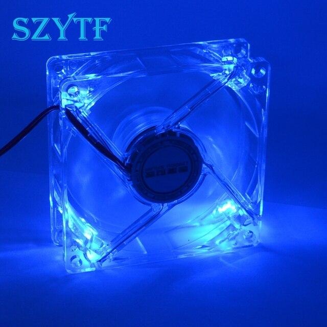 Ventilateur de refroidissement pour boîtier dordinateur et pc, 8cm avec ventilateur 8025 et châssis lumières LED bleues, 80x80x25