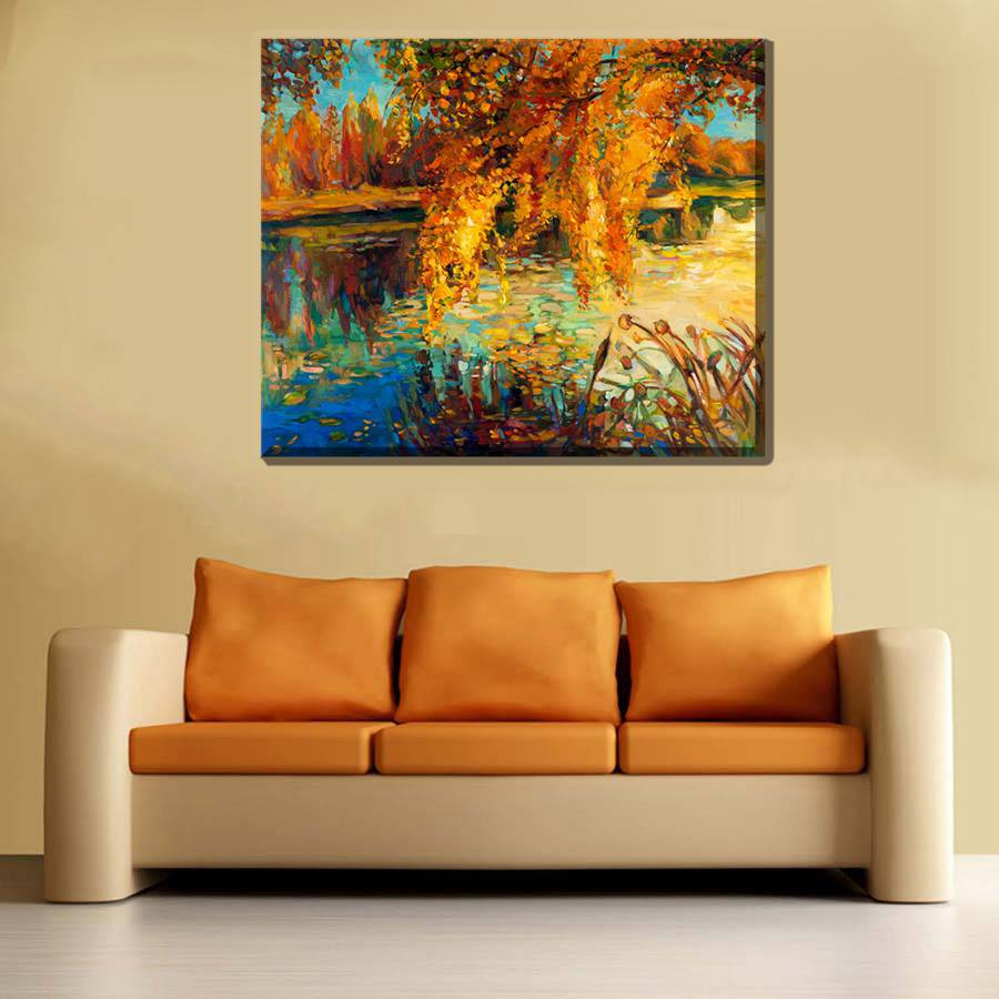 Autumn Lake Pond Yellow Leaves Landscape Scene Picture Wall Art ...