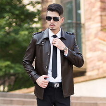 Spring and Autumn male fashion leather men's clothing leather clothing male turn-down collar outerwear Leather Jackets And Coats