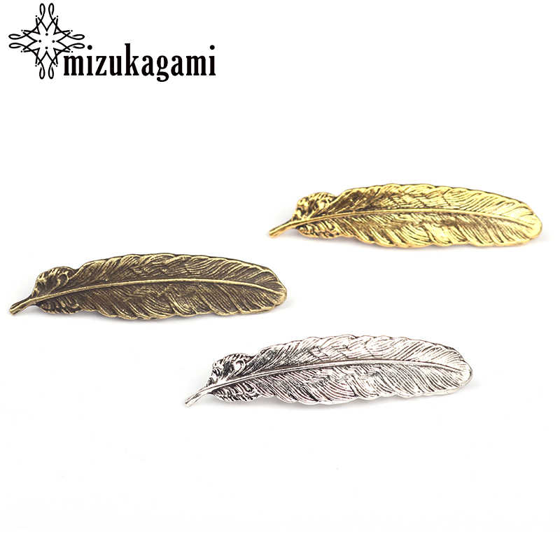 6pcs Retro Zinc Alloy Bronze Gold Silver Feather Decorative Buttons CONCHO Charms Pendant For DIY Accessories Free shipping