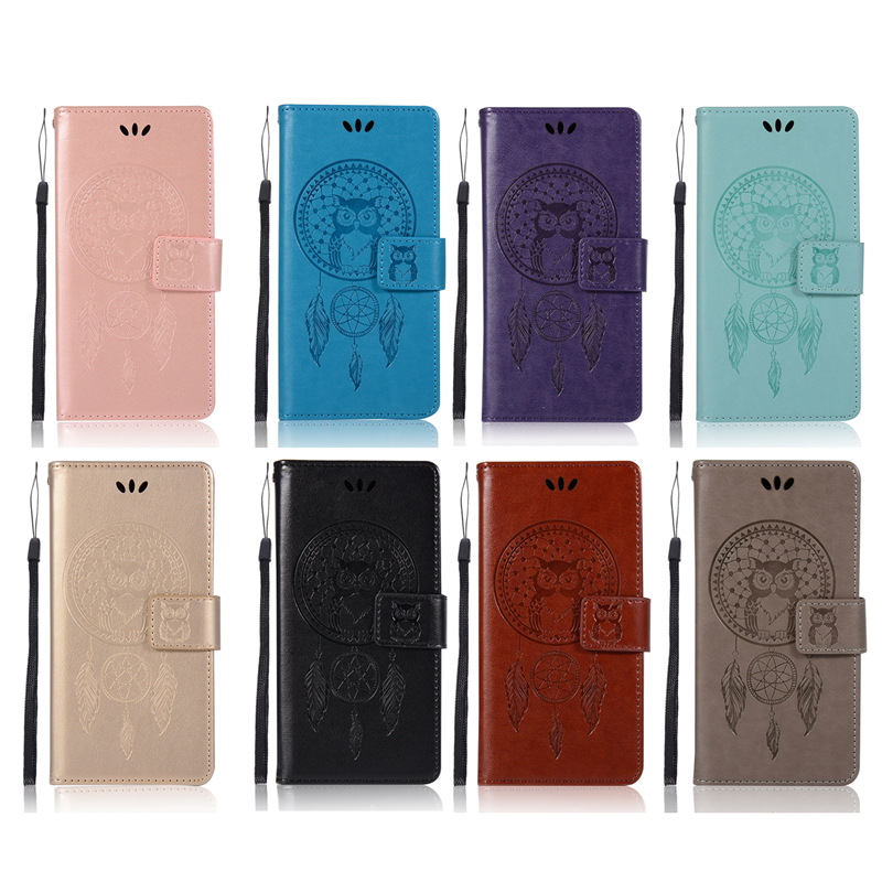 Embossed Wallet Case For Huawei Honor 8 Lite PU leather Owl Flip Cover Case For Huawei P8 Lite 2017 Case Phone Capa